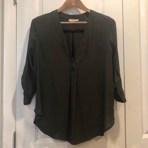 Lush Olive Green 3/4 Sleeve Tunic Blouse